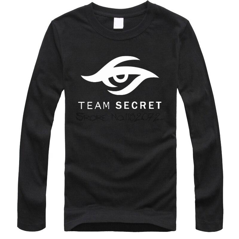 100% algodón Dota2 camiseta torreta invitación internacional TI5 camisetas de manga larga estilo de juego DOTA 2 Team Secret logo camiseta