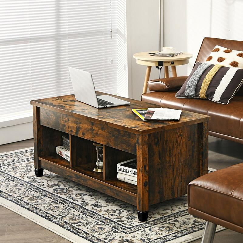 التفاعلية رفع علوي طاولة القهوة مع مخزن للأدوات الخفية قابل للتعديل سطح المكتب دائم خشب متين الساقين شيك طاولات القهوة