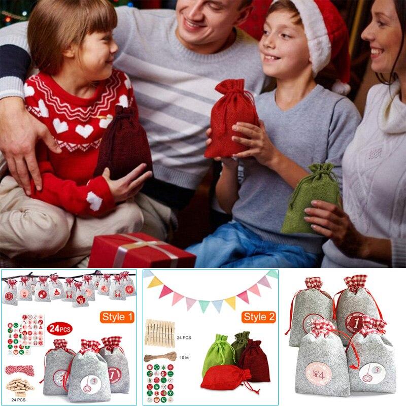 1 Juego de bolsas de regalo de Navidad 24 cuenta regresiva de días Adviento pegatina de calendario cuerda de cáñamo DIY vacaciones decoraciones de Navidad _ WK