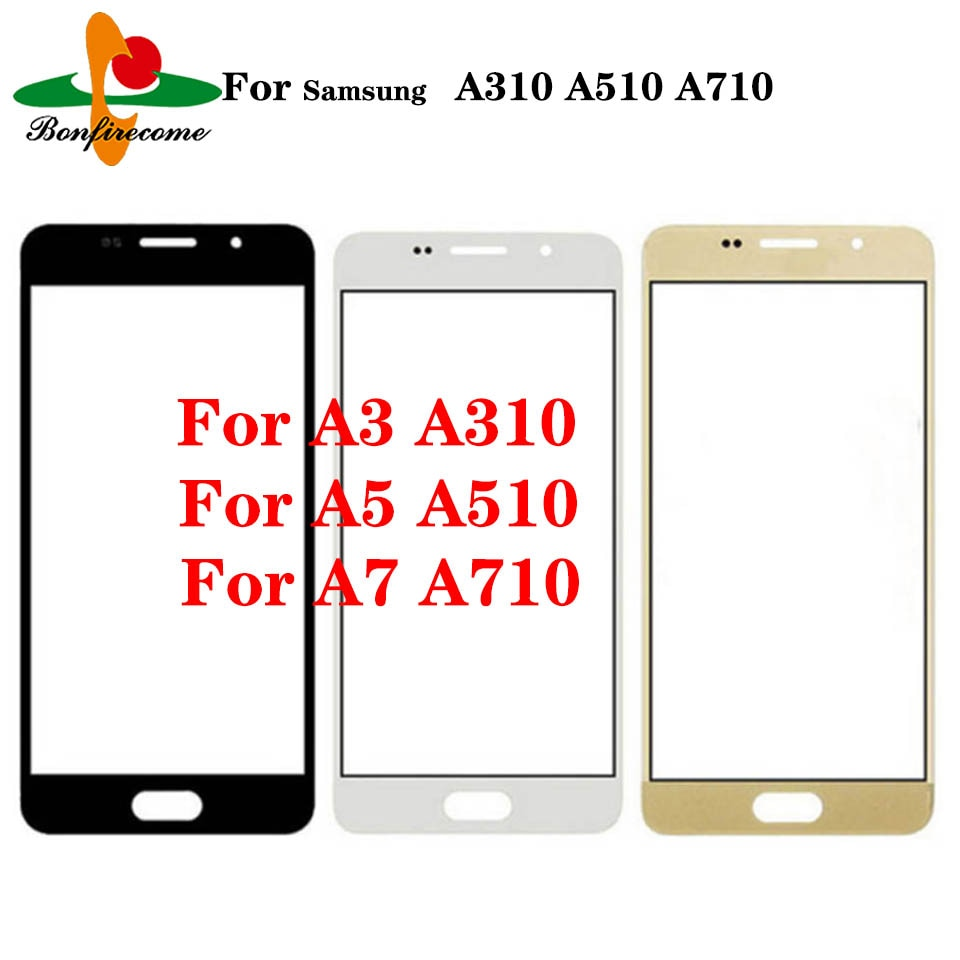 Lote de 10 unidades de pantalla táctil para Samsung Galaxy A3 A5 A7 2016 A310 A510 A710, cristal exterior táctil, Sensor de cristal frontal de pantalla táctil LCD