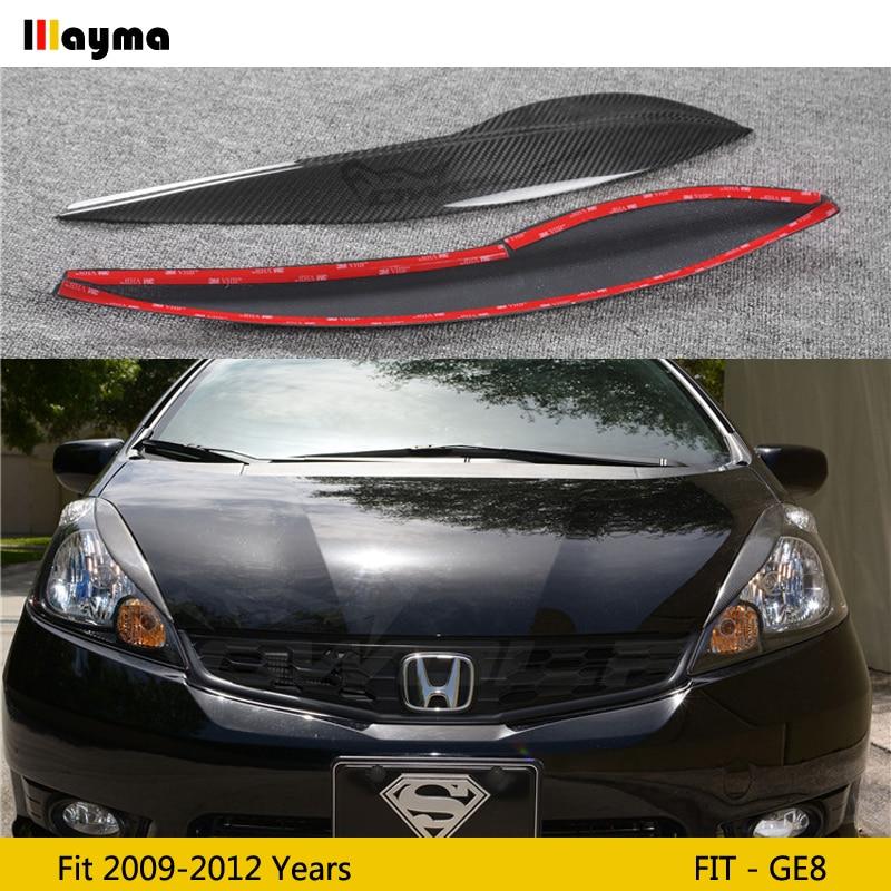 Carbon fiber headlight decorative covers eyelid For Honda Fit 2009 - 2012 GE8 Fiber glass FRP primer front lamp eyebrow sticker