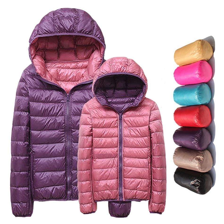 Женские куртки, Брендовые куртки на 90% утином пуху, женские ульсветильник куртки с капюшоном и перьями, двустороннее теплое пальто