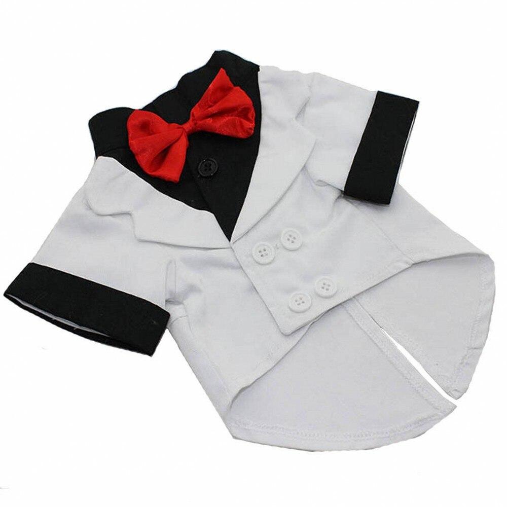 Ropa para mascotas de camisa para perro de esmoquin de boda de traje de estilo occidental con pajarita de ropa para perros