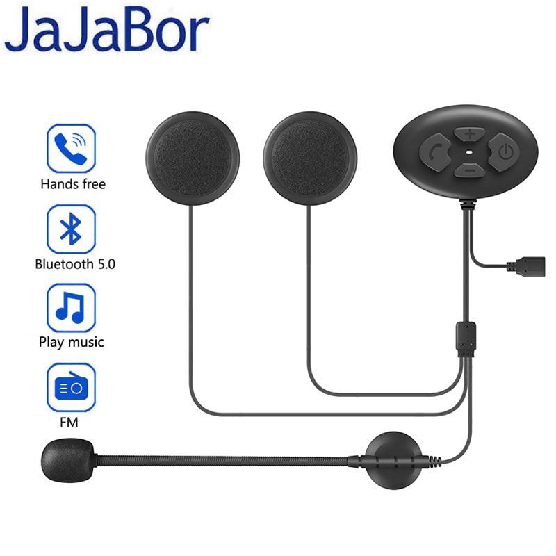 Casco de motocicleta JaJaBor, auriculares Bluetooth 5,0, manos libres, auriculares inalámbricos, contestador automático para Moto, auriculares de Música + Radio FM