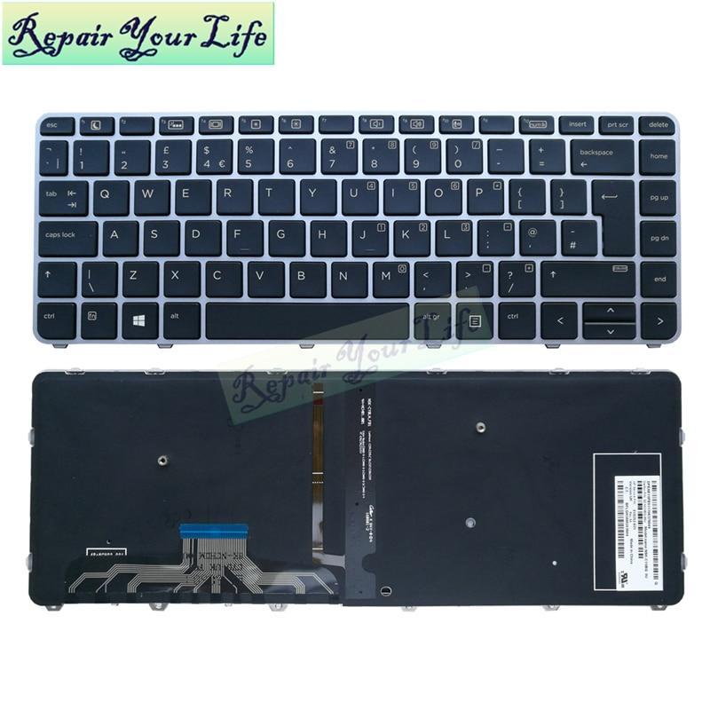 Laptop tastatur Für HP Elitebook folio 1040 G3 UK Englisch blau kb silber rahmen hintergrundbeleuchtung 818252-031 NSK-CY0BQ 9Z.NCHBQ.00U neue
