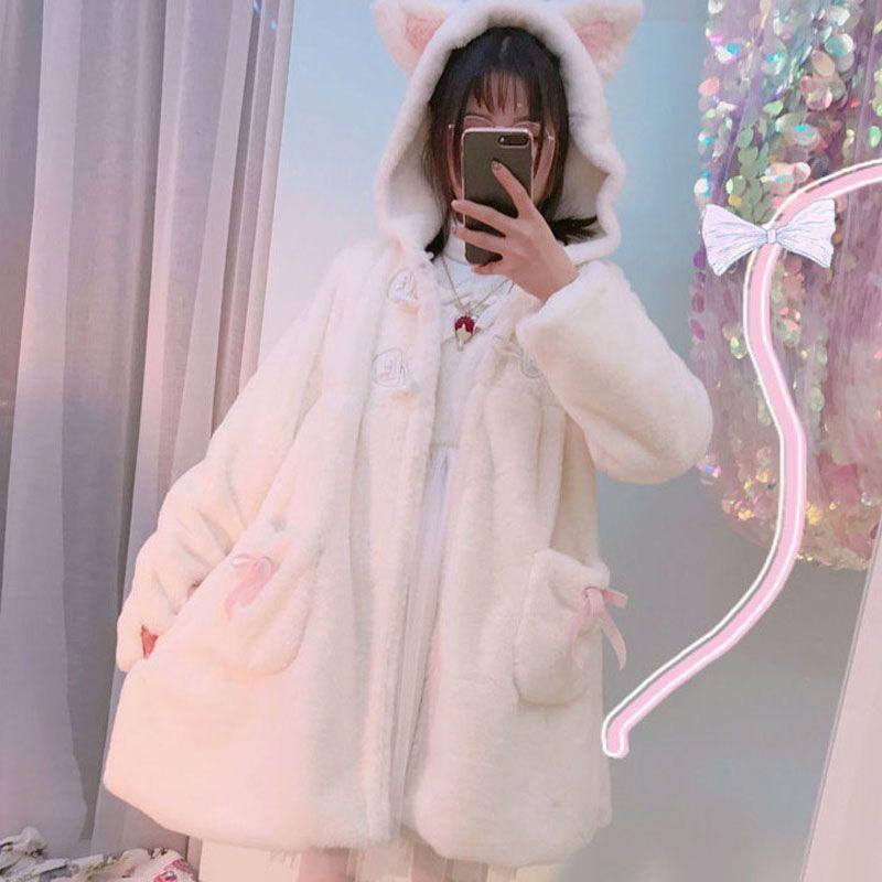 Japanese Sweet Soft Sister Cute Coat Winter Rabbit Ears Hooded Lolita Teddy Coat Kawaii Fleece Warm Plush Cartoon Anime Jackets freee shipping cos anime ears cats hairpins diffuse maid catwoman lolita soft cute sister card