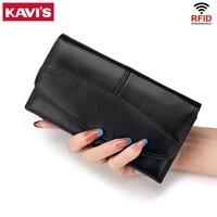 kavis new fashion women wallets brand leather long handy wallet purse rfid genuine leather female clutch card holder carteras