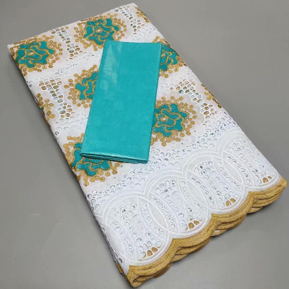 Sinya New Style Bazin Match Swiss Cotton Lace Fabrics High Quality 100% Embroidery Cotton Bazin Lace Fabrics