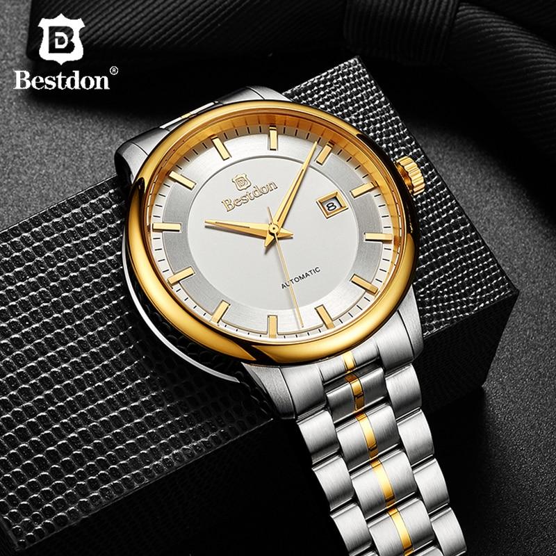 Bestdon Gold Men's Watch Famous Brand Automatic Mechanical Blue & Grey Dial Full Steel Waterproof  Watches Man Relogio Masculino