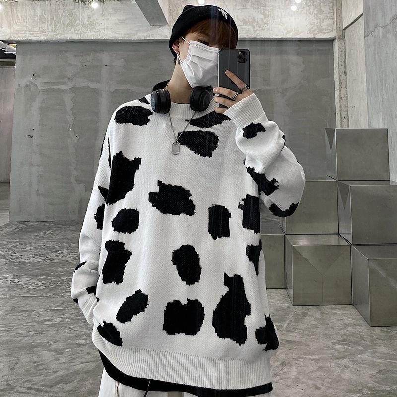 Свитер с коровьим узором мужской теплый модный ретро повседневный вязаный пуловер мужские дикие свободные Корейские вязаные свитеры мужская одежда