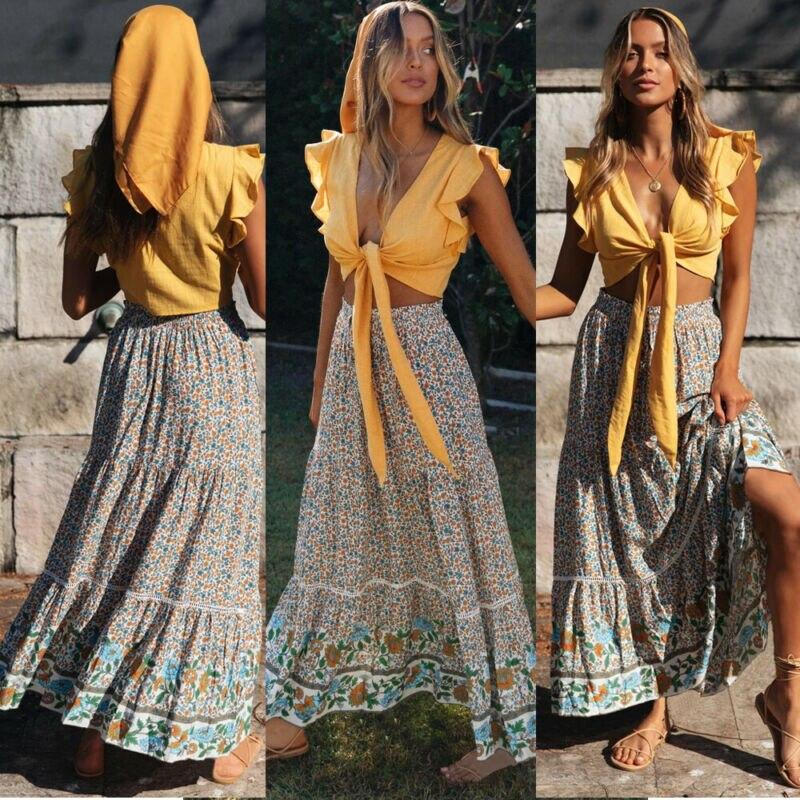 USA 2020 Neue Floral Stil Chiffon BOHO Frauen Jersey Gypsy Lange Maxi Kleid Voller Strand Sonne Rock Abend Cocktail Party ball