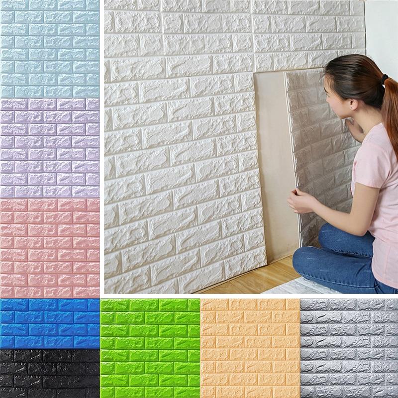 Pegatinas de Panel de pared 3D, papel tapiz autoadhesivo de ladrillo, decoración de dormitorio, sala de estar, hogar, impermeable, niños, cocina, baño, TV, telón de fondo