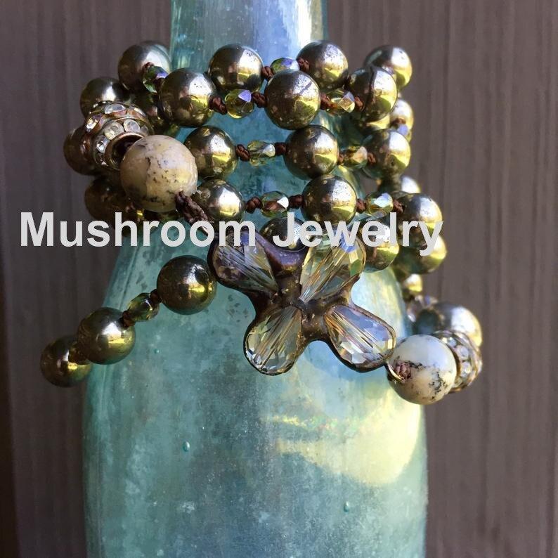 Bohemian Knot Pyrite Stone Bead Jewellry Dalicate Necklace