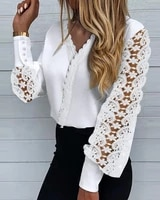 2021 spring summer casual v neck hollow out lace stitching long sleeve elegant blouse womens clothing workwear shirts white top