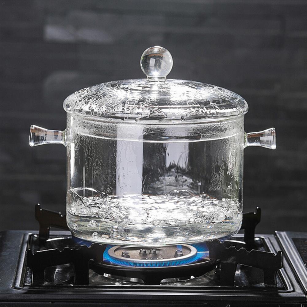 Стеклянная суповая кастрюля 1300 мл Прозрачная Чаша для приготовления салата