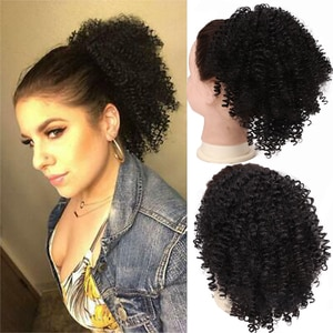 Amir Draw string Puff Afro Kinky Curly ponytail African American Short Wrap Synthetic clip in ponytail Hair Extensions 8inch
