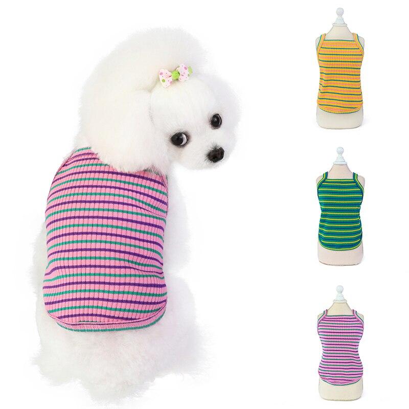 Классические милые полосатые цветные товары для домашних животных, модная кофта, летние жилеты для собак, размер детской одежды, весенне-ле...