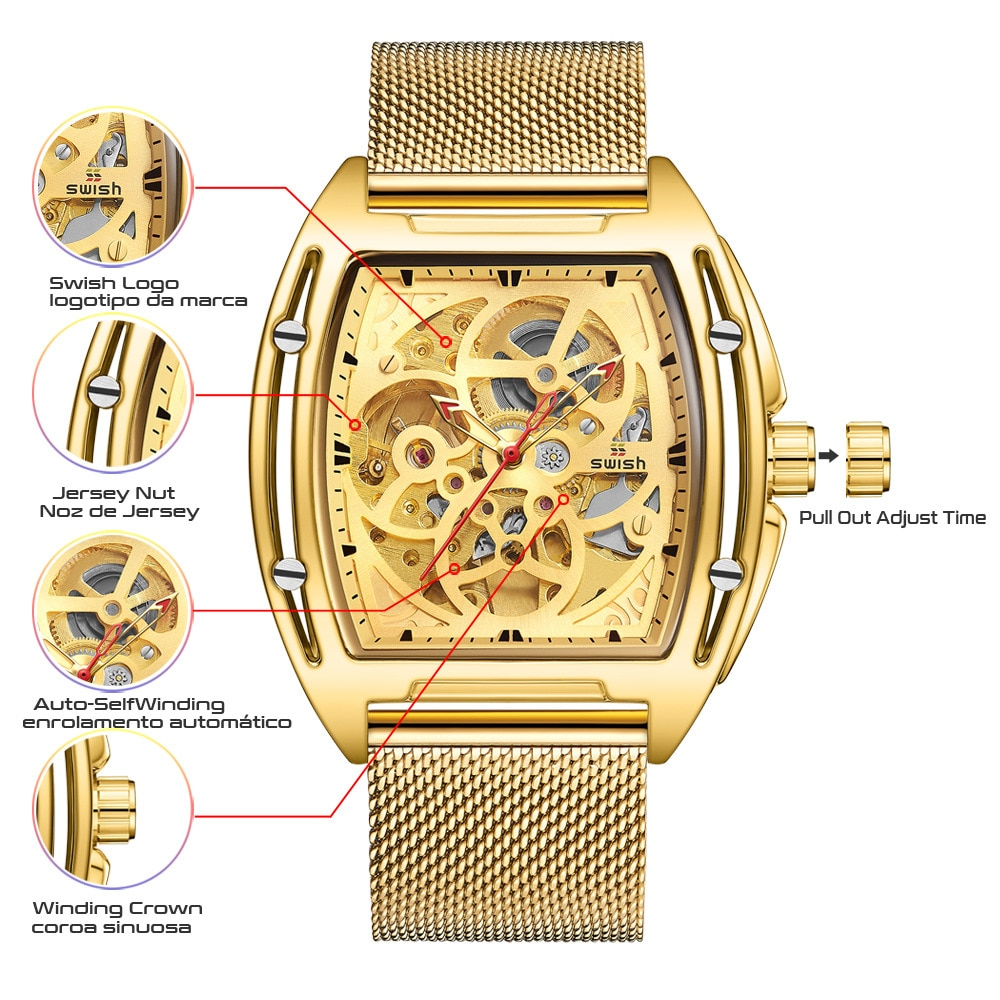 The new multifunctional waterproof casual automatic hollow through the bottom explosion type mechanical watch men's watch enlarge