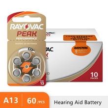 60 PCS NEW Zinc Air 1.45V Rayovac Peak Hearing Aid Batteries A13 13A 13 P13 PR48 Hearing Aid Battery