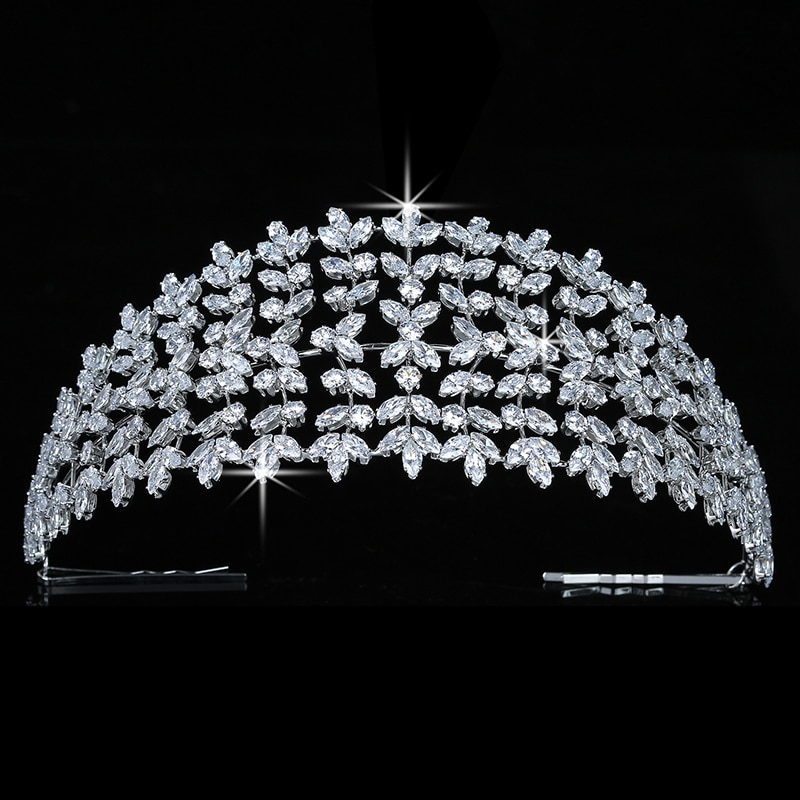 التيجان والتاج HADIYANA للنساء ، إكسسوارات شعر الزفاف الرومانسية اللطيفة ، مجوهرات شعر الحفلات المصنوعة من الزركون BC5134 Corona princess