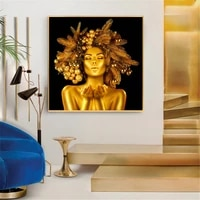 nordic modern gold women canvas painting gold sexy lady with christmas decoration posters and print wall picture for living room
