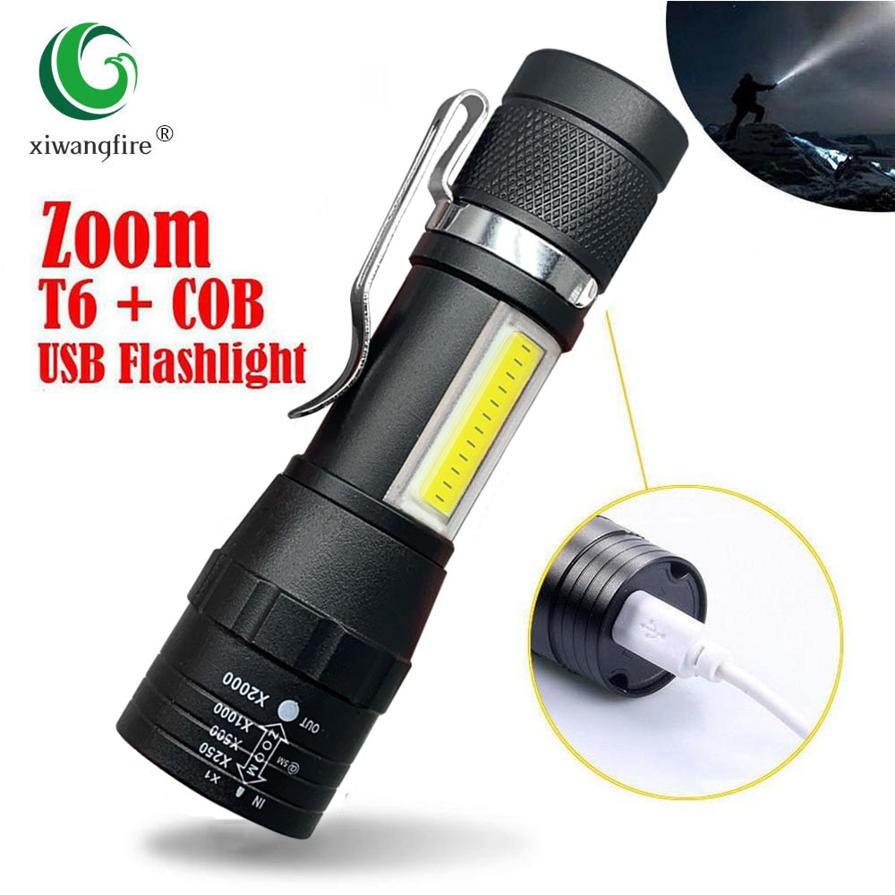 Portable LED Flashlight T6 COB Light Rechargeable Flashlight Built-in Battery Zoom Flashlight 3 Mode Waterproof Emergency Torch