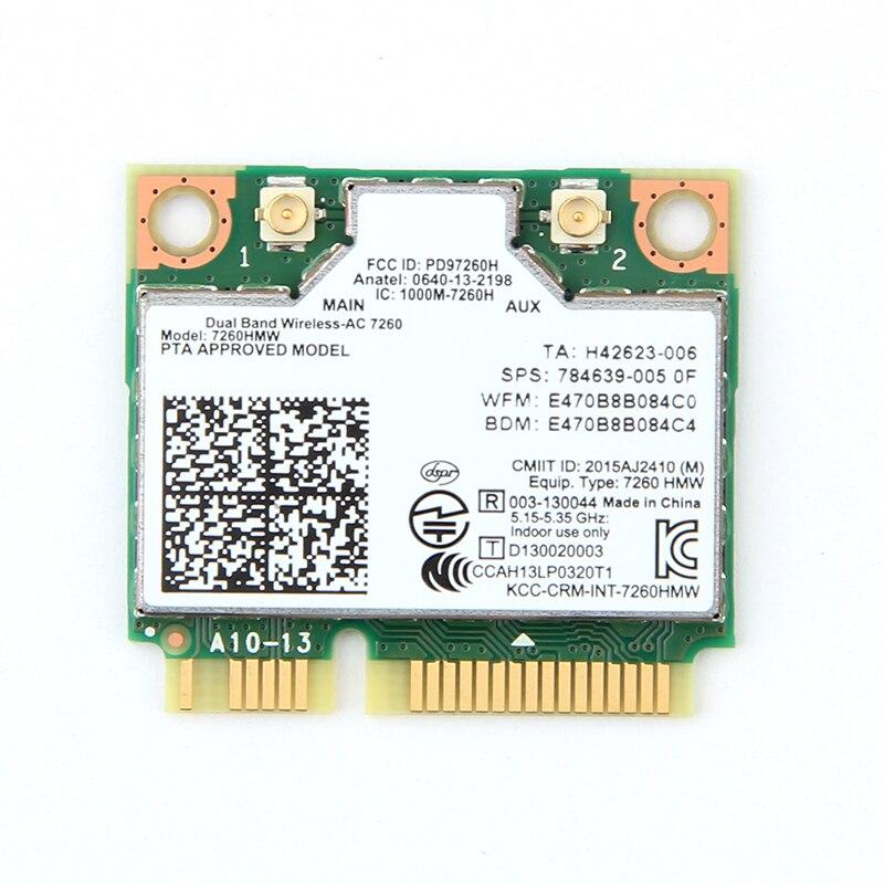 Двухдиапазонный AC1200 беспроводной адаптер для Intel 7260 7260HMW AC MINI PCI-E карты 2,4G/5G Wifi + bluetooth 4,0 для Dell/Sony/ACER/ASUS