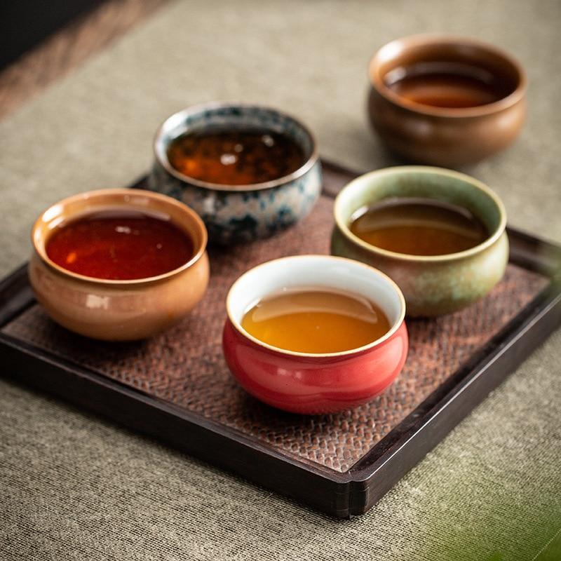 طقم شاي صيني لوتس طقم عشاء من الخزف الفاخر طقم شاي الكونغ فو السفر طقم شاي تقليدي بعد الظهر Szklanki المنزلية Eg50cj