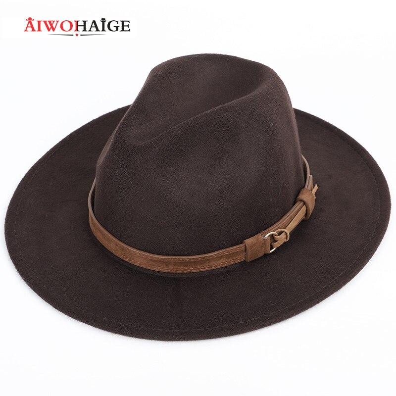 2020 Autumn winter wool men's fedoras women's felt hat Ladies sombrero jazz Male bowler hat outdoor