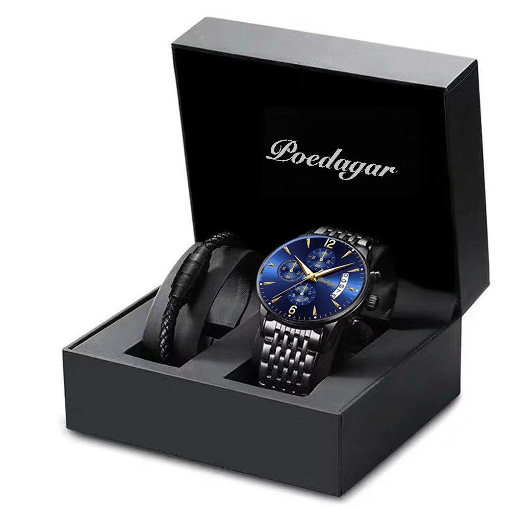 Topo da Marca de Luxo à Prova Relógio de Pulso Poedagar Relógios Masculinos Dwaterproof Água Luminosa Quartzo Nova Moda Casual Busniess Relógio Masculino