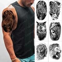 clock lion gear temporary tattoo sticker for men women rose flower owl wolf waterproof fake henna tiger animal body art tatoo de