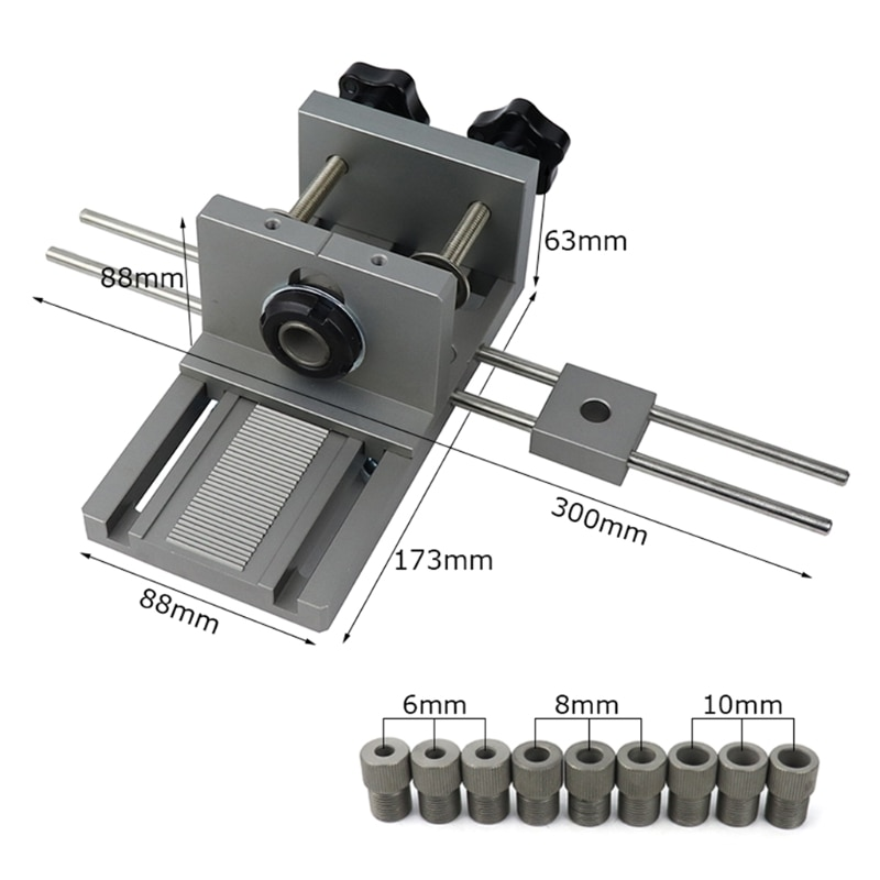 3 in 1 Woodworking Hole Drill Punch Positioner Guide Locator Dowelling Jig Bits