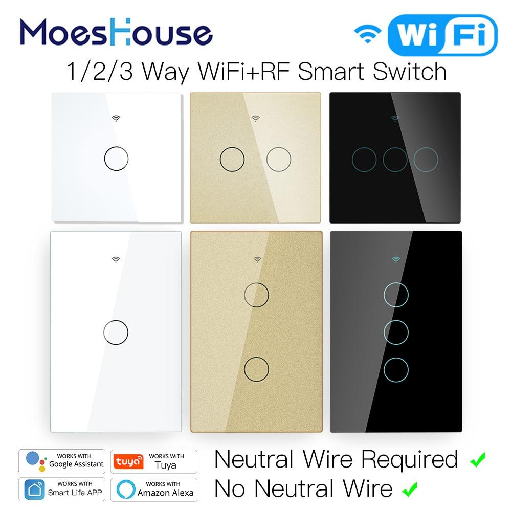 Tuya zigbee Touch Switch Wall Switch Alexa Google Home Voice Control Moeshouse EU/US Version No Neutral Wire Wifi Switch fitting