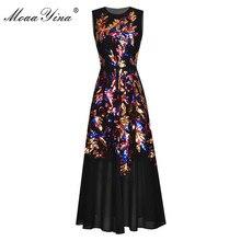 MoaaYina Fashion Designer dress Spring Summer Women's Dress Sleeveless Sequins Dresses