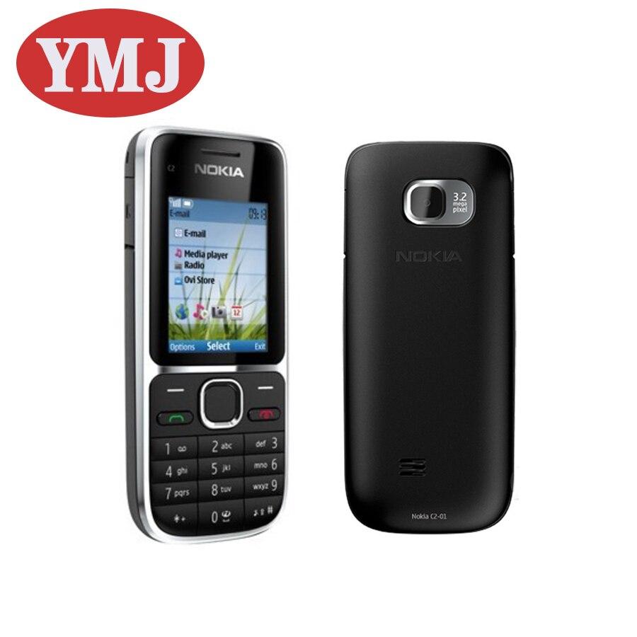 Перейти на Алиэкспресс и купить Оригинальный разблокированный сотовый телефон Nokia C2-01 C2, 2,0 дюйма, МП, Bluetooth, б/у телефон на английском/русском/иврите/арабском языке с клавиат...