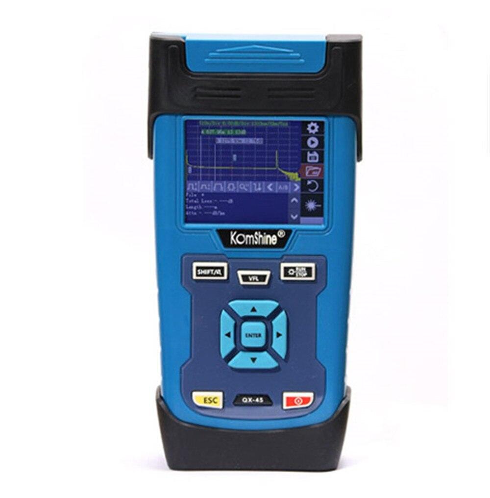 Envío Gratis QX45 OTDR kombshine SM 128KM 1310/1550nm, prueba de fibra óptica, VFL 10 MW, 32*30 dB, soporte inglés español portugués