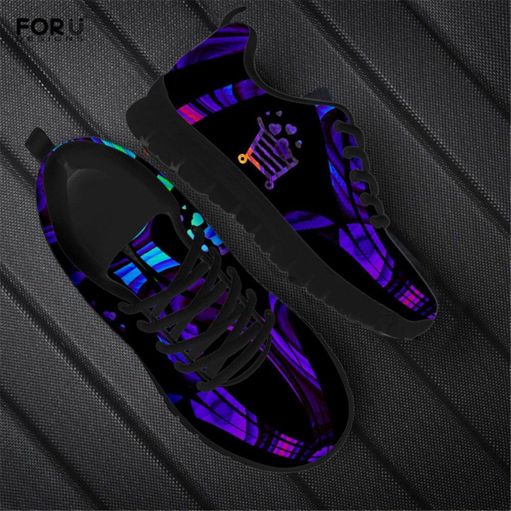 FORUDESIGNS oscuro psicodélico flipante gerente de la tienda de las mujeres zapatillas de deporte Zapatos casuales de Otoño de la malla de luz cómodo zapatos de las señoras
