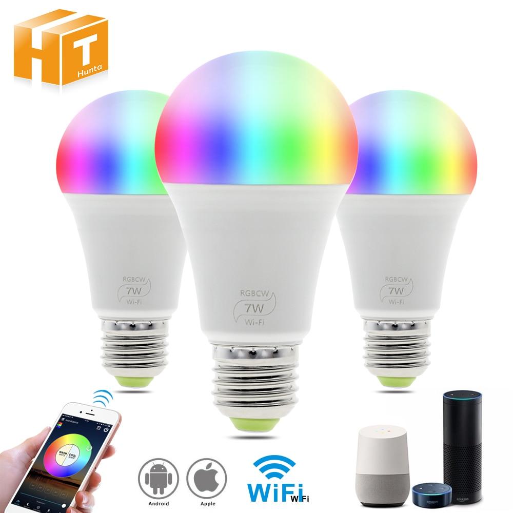 Smart Wifi Led Lamp Werk Met Amazon Alexa & Google Thuis Rgb + Warm Licht + Wit Licht E27 7W AC85-265V Led Lamp Licht.