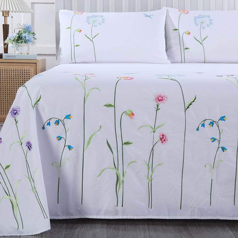 الأبيض التطريز النباتية الزهور نمط ورقة مسطحة مجموعة فاخرة لينة 100% غطاء سرير قطن و المخدة التوأم الملكة الملك الحجم
