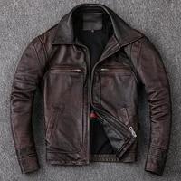 new men cowhide coat mens genuine leather jacket vintage style man leather clothes motorcycle biker jackets leather jacket men