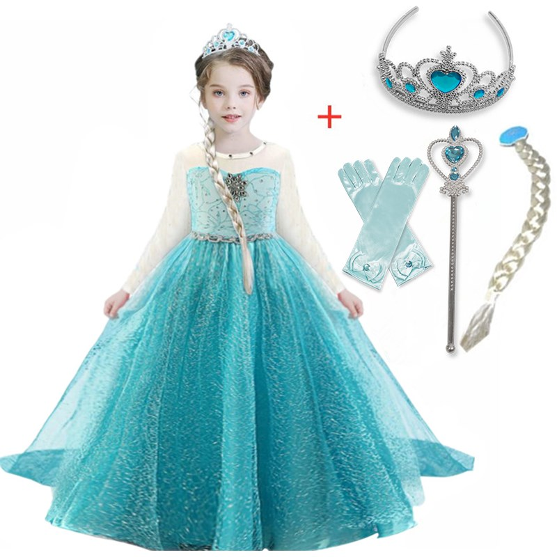 2020 New Dress Girls Costume Cosplay Costumes Long Sleeve Halloween Children Dresses Party Princess Girl Dresses