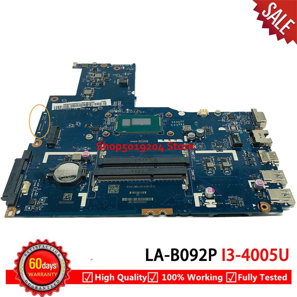 Para Lenovo B50-70 placa base de computadora portátil SR1EK I3-4005U ZIWB2/ZIWB3/ZIWE1 LA-B092P placa base