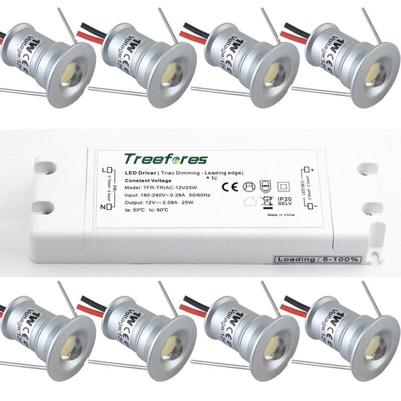 1 واط LED النازل بقعة صغيرة الإضاءة 12 فولت + ترياك مصدر إمداد الطاقة القابل للتعتيم المنزل داخلي مطبخ خزانة طقم مصباح مجوف درج مصابيح