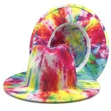 Colorful tie-dye women woolen hat spring color hat ladies big-brimmed jazz felt hat ink painting Pan