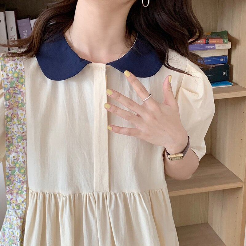 Korean Chic Dress French Color Matching Baby Collar Loose Pleated Waist Thin Bubble Sleeve Dress Lon