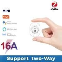 Module ZigBee 16a 1Gang 2 voies  Mini interrupteur declairage intelligent Tuya  minuterie  disjoncteur domotique pour Google Assistant Alexa 110V 220V