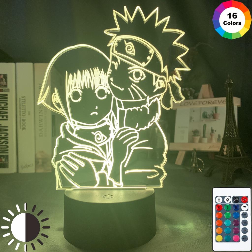 Led Lighting Anime Uzumaki Naruto and Hinata Hyuga Personalized Gift Valentines Day For Boyfriend Night Lamp Room Decor