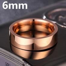 6MM Rose Gold Titanium Band Brushed Wedding Stainless Steel Solid Ring Men Women