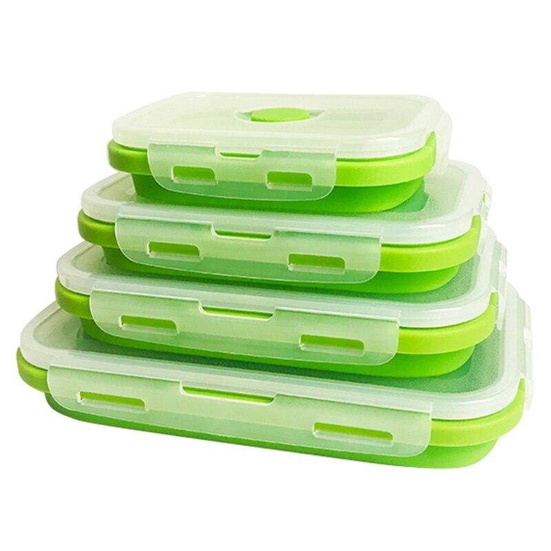 4 قطعة/المجموعة لطي حاويات سيليكون الغذاء تخزين مربع المنظم الميكروويف الثلاجة الغداء مربع