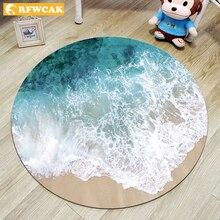 RFWCAK tapis rond pour la plage   3D, tapis pour ordinateur et chaise, tapis de salon, pour chambre à coucher, tapis antidérapant, décoration pour la maison